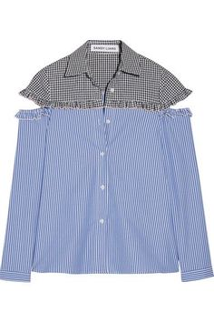 One of New York's most exciting young designers, Sandy Liang's collections are inspired by the cool girls she sees on the Lower East Side and her own grandmother's style. Made from cotton, this striped and gingham 'Mercury' shirt has sleeve cutouts and is trimmed with neat ruffles. We love it with frayed jeans and boots.