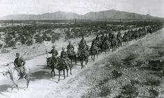 "A troop of the 7th Cavalry, ""Custer's Own"" departs Ft. Bliss near El Paso to travel 250 miles into Mexico, under Gen John J. Pershing's punitive expedition to hunt down and to kill or capture Pancho Villa for supposed crimes against the US.  They never even caught a glimpse of Villa."