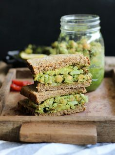 Chickpea Pesto Vegan Sandwich with Roasted Broccoli and Avocado