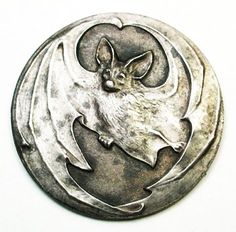 French Arts & Crafts Metal Button, Flying Bast