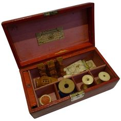 Antique George III Leather Sewing Box by William Dobson - Kirby's Pins from puckerings on Ruby Lane