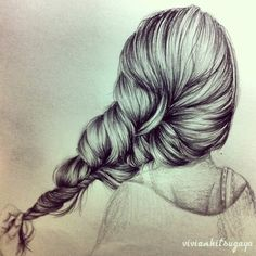 Drawing of a girl pulling on her loose braid