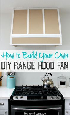 How to build your own custom DIY Range Hood Fan for a Broan Insert. Range Hood Fan, Range Hoods, Wooden Range Hood, Kitchen Vent Hood, Kitchen Appliances, White Shaker Kitchen, Diy Outdoor Kitchen, Kitchen Redo, Kitchen Ideas