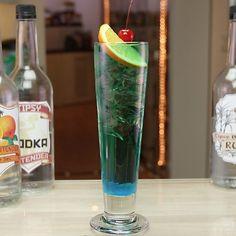 BLUE FROG COCKTAIL 1/2 oz. (15ml) Vodka 1/2 oz. (15ml) Rum 1/2 oz. (15ml) Gin 1/2 oz. (15ml) Tequila 1/2 oz. (15ml) Triple Sec 1/2 oz. (15ml) Blue Curacao Top with Red Bull Garnish: Orange Slice/Cherry PREPARATION 1. Fill a tall glass with ice and pour in vodka, rum, gin, and tequila. 2. Add triple sec and blue curaçao. 3. Top with energy drink and garnish with orange slice and a cherry. DRINK RESPONSIBLY!