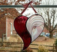 Stained Glass Heart Suncatcher Pink Purple Glass Heart