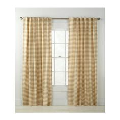 Country Curtains Cabin Check Rod Pocket with Back Tab Curtains - 63 L ($70) ❤ liked on Polyvore featuring home, home decor, window treatments, curtains, blue, blue home decor, rod pocket curtains, pole top curtains, country home accessories and woven curtains