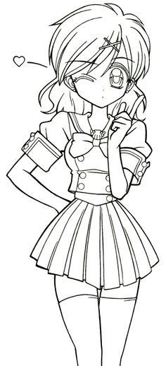 Desenho de Garota em Mangá Para Colorir - Desenhos Para Colorir Kawaii Anime Girl, Kawaii Girl Drawings, Anime Drawings Sketches, Cool Art Drawings, Anime Sketch, Pencil Drawings, Anime Chibi, Anime Art, Pony Drawing