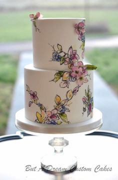 Hand painted floral cake by Elisabeth Palatiello Pretty Cakes, Beautiful Cakes, Amazing Cakes, Bolo Floral, Floral Cake, Painted Wedding Cake, Watercolor Cake, Hand Painted Cakes, Naked Cake