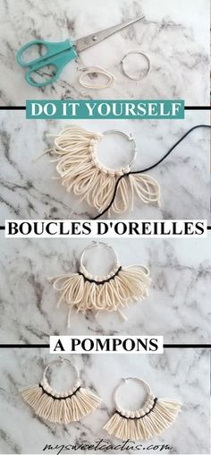 Do it yourself de boucles d'oreilles ethniques originales à pompons pour un look unique ! Tuto facile dispo sur le blog #diy #doityourself #earings #accessoires