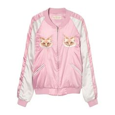 CAT CAT CAT SOUVENIR JACKET ($265) ❤ liked on Polyvore featuring outerwear, jackets, pink jacket, puffy jacket, puffer jacket, puff jacket and puffa jackets
