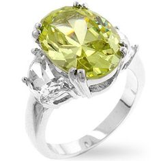 Oval Peridot Engagement Ring