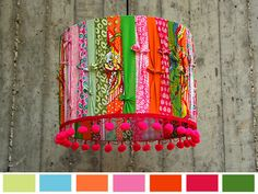 Primavera Sorbete - Happy LampShade. Decorative Home Lighting door GreenQueenEcoDesign op Etsy https://www.etsy.com/nl/listing/109702656/primavera-sorbete-happy-lampshade
