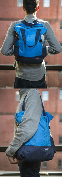 The Best Stowable Tote or Daypack | The Patagonia Lightweight Tote works great as a tote but makes no compromises in backpack performance. It has all the padding and straps you'd expect on a normal daypack.