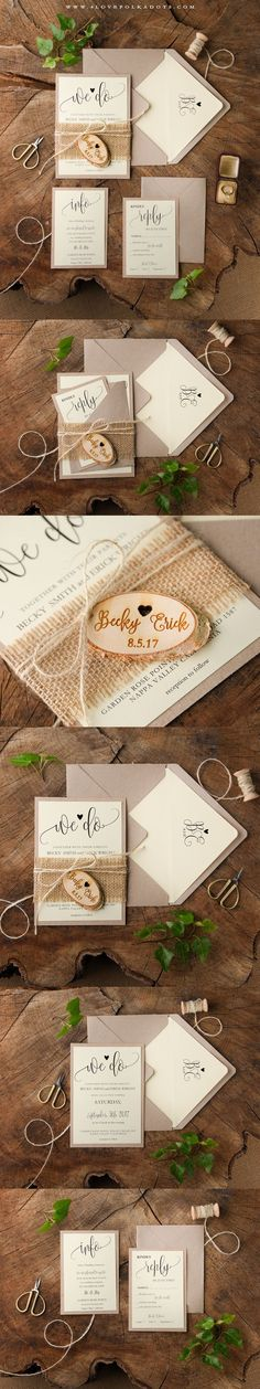 We Do ♥ Wedding Invitation - made from eco papers with birch bark tag and burlap #weddingideas #countrywedding #barn #rustic