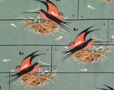 Organic cotton fabric birds Birch charley harper DIY cushions sustainable retro vintage barn swallows