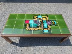 1960s #vintage solid teak midcentury #green #abstract tile top retro coffee table,  View more on the LINK: http://www.zeppy.io/product/gb/2/361898028179/