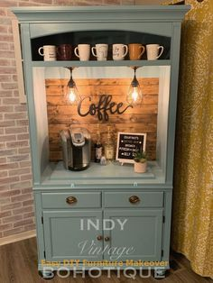 How to Make a Farmhouse Coffee Bar at Your Wedding Refurbished Furniture, Repurposed Furniture, Furniture Makeover, Painted Furniture, Diy Furniture, Lewis Furniture, Armoire Makeover, Furniture Design, Cabin Furniture