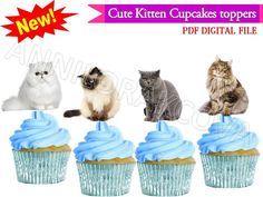Cupcakes Cats toppers Kitten toppers wafer, cake pop toppers, Digital You print