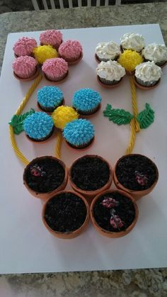 """Cupcake cake for mothers day! Oreo topping for the """"dirt"""". Each """"flower"""" a different flavor cupcake. Yellow middle cakes topped with food colored coconut for texture. Can bake cupcakes inside flower pots, just put a cupcake paper lining in them first. Pots are very hot when taken out of the oven so be careful!"""