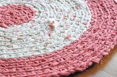 Crocheted T-shirt Rug! Upcycled!