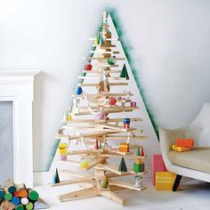 Check out this post for a guide to the best modern Christmas trees available - perfect for an unconventional Christmas home. Creative Christmas Trees, Scandinavian Christmas Decorations, Wooden Christmas Trees, Christmas Tree Design, Christmas Tree Decorations, Christmas Tree Ornaments, Traditional Christmas Tree, Modern Christmas, All Things Christmas