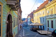 Old paved Radiceva street of Zagreb upper town, capital of Croatia Stock Photo - 67265592 Croatia, Photo Editing, Stock Photos, Street, Pictures, Photography, Image, Editing Photos, Photos