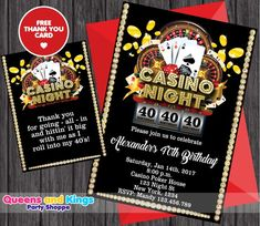 Casino Party Invitation, Poker Invitation, Las Vegas Party Invite, 40th  Birthday Theme Invite f972a1358bc