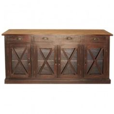 French Style Glass X design Door Sideboard