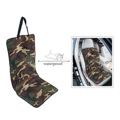 Universal Bucket Seat Cover for Pets/Dog Travel Waterproof - Camouflage. This utility Front Bucket Seat Cover fits most bucket seats and builds a waterproof protective barrier against muddy paws, spills and dirt between your pet and vehicle's interior. Coming with a clever headrest belt and elastic back strap that can easily cross the seat body to keep it in place. It's stain resistant, waterproof, yet can be wiped clean or laundered in the washing machine.