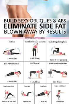 Best Exercise to Eliminate Side Fat and Build Sexy Obliques & Abs! Ab blast home workout. This is a quick and intensive abs workout that engages all of the muscles of your core. Exercise Fitness, Fitness Herausforderungen, Fitness Workout For Women, Health Fitness, Female Fitness, Physical Fitness, Lower Ab Workout For Women, Fitness Games, Fitness Exercises