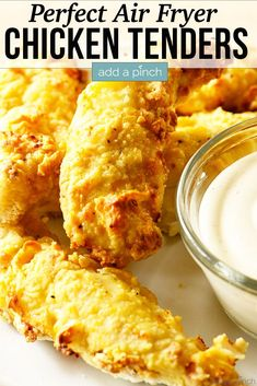 Air Fryer Chicken Tenders Recipe – These crispy, tender and delicious chicken fingers are baked to perfection in the air fryer. Always a family favorite and ready in minutes! //addapinch.com #chickentenders #airfryerchickentenders #airfryer #chicken #addapinch Air Fryer Recipes Chicken Tenders, Air Fryer Fried Chicken, Air Fried Food, Chicken Tender Recipes, Fried Chicken Recipes, Recipe Chicken, Chicken Meals, Chicken Tenders In Crockpot, Chicken Strip Recipes