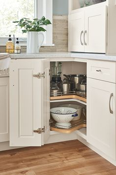 Get kitchen organization ideas from MasterBrand, including storage solutions of corner cabinets, pantry cabinets and sink cabinets. Kitchen Drawer Organization, Diy Kitchen Storage, Organization Ideas, Kitchen Drawers, Kitchen Hacks, Small Kitchen Pantry, Organizing Kitchen Cabinets, Small Kitchen Cabinet Design, Home Depot Kitchen