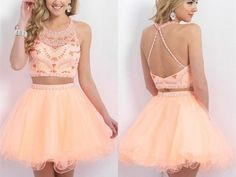 Two Pieces 2015 hot sale Homecoming Dress ,Spaghetti Strap Backless Graduation Dresses, Halter Prom Gowns, Sparkle Beading