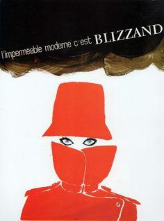 Vintage 1960s raincoat advert with illustration by Gruau