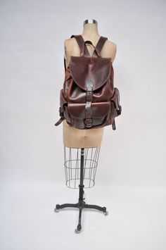 vintage leather backpack leather back pack ruck sack rucksack bag saddle leather LARGE