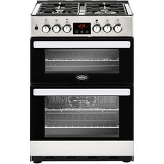 This Cookcentre stainless steel Belling dual fuel cooker has 2 cavities including a main electric fan oven, a gas hob, a PowerWok™, a Maxi-Clock™ and an enamel interior. Dual Fuel Cooker, Cast Iron Wok, Electric Cooker, Romantic Meals, Electrical Connection, Electric Fan, Stainless Steel