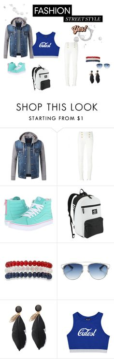 """""""A Day In The City"""" by littledirectioner69 on Polyvore featuring moda, Balmain, Vans, adidas Originals, Kim Rogers, Christian Dior y Anya Hindmarch"""