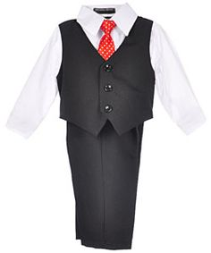 "Andrew Fezza Baby Boys' ""Dapper Black"" 4-Piece Vest Set $14.99"