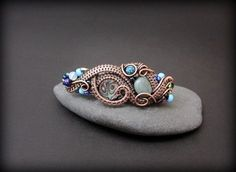 OOAK Wire wrapped barrette copper wrapped by AquascentCreations