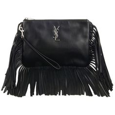 Pre-owned Saint Laurent Ysl Monogram Fringed Black Clutch (€650) ❤ liked on Polyvore featuring bags, handbags, clutches, black, genuine leather handbags, black fringe handbag, black clutches, leather fringe purse and leather clutches