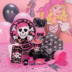 Pink Pirate Girl Deluxe Party Pack - OrientalTrading.com