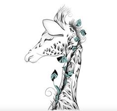 Drawing Doodles Ideas Giraffe - See amazing artworks of Displate artists printed on metal. Easy mounting, no power tools needed. Body Art Tattoos, Tattoo Drawings, Art Drawings, Tatoos, Giraffe Tattoos, Baby Giraffe Tattoo, Totenkopf Tattoo, Giraffe Art, Cute Giraffe Drawing