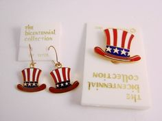 Vintage Bicentennial Collection Patriotic Hat Enamel Pin and Earrings Set 1976 $0.99
