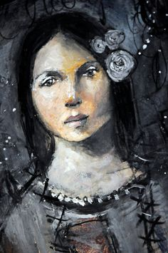 black and white - woman - Misty Mawn - figurative painting