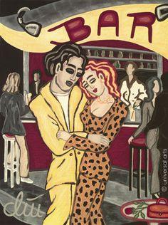JACQUELINE DITT - Clubdancing A4 Druck n.Gemälde Bild Liebespaar Love Bilder art