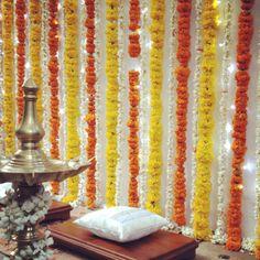 Isn't it amazing! Isn & # t it amazing ! Indian Marigold Wedding Decorations Decorated with antique bells ! Desi Wedding Decor, Wedding Hall Decorations, Wedding Reception Backdrop, Engagement Decorations, Backdrop Decorations, Festival Decorations, Flower Decorations, Backdrop Ideas, Diwali Decorations