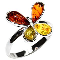 2-4g-Authentic-Baltic-Amber-925-Sterling-Silver-Ring-Jewelry-s-8-A7232S8