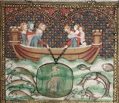 Boat with a battlemented erection at each end. Alexander the Great in a glass diving-bell,from the Romance of Alexander. and Oxford, Bodleian Library,ms. Jehan de Grise and his workshop (illuminator). Medieval World, Medieval Art, Medieval Manuscript, Illuminated Manuscript, Alexandre Le Grand, Book Of Hours, Alexander The Great, Historical Art, Knights Templar