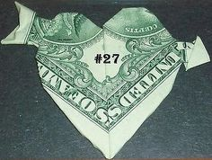 $Money$ Origami HEARTS-31 Designs To Coose From Made Of $1 Bills Great Gift Idea