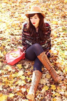Dress up any outfit with amazing tall boots and red lipstick!